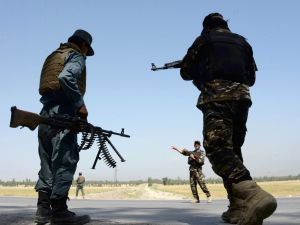 Afghan security personnel in Jalalabad.