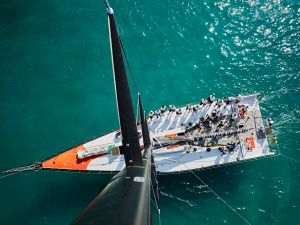 Michael Gramm Looking Down on a Volvo at Les Voiles 70 (1)
