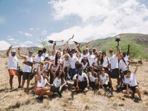 Global ambassadors planting trees in Haiti.
