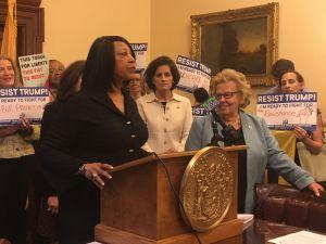 Assemblywoman Sheila Oliver (left).