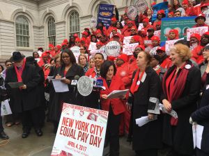 Public Advocate Letitia James and Communication Workers of America Local 1180 union members at an Equal Pay Day rally in front of the City Hall steps.