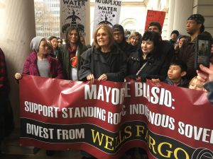 Feminist icon Gloria Steinem joined indigenous people and allies at City Hall to call on the city to divest from banks funding the Dakota Access Pipeline and other pipelines.