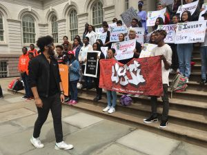 Members of the Urban Youth Collaborative are calling on the city to end the school-to-prison pipeline.