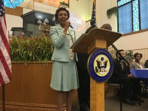 Brooklyn Congresswoman Yvette Clarke speaks at her latest #BrooklynResists town hall at New Life Tabernacle Church in East Flatbush.