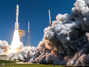 Flying in its largest configuration, a United Launch Alliance Atlas V rocket launches the MUOS-5 satellite for the United States Navy on June 24th, 2016.