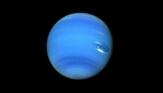 A photo of Neptune taken by the Voyager 2 spacecraft in 1989.