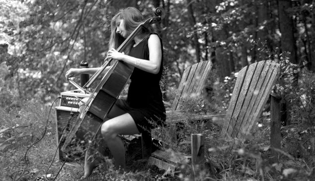 Rebecca playing cello in Wakefield
