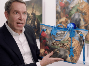 Jeff Koons with a bag from his Masters Collection collaboration with Louis Vuitton.