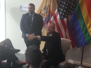Democratic gubernatorial frontrunner Phil Murphy at Garden State Equality's open meeting Thursday.