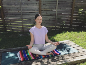 "Adriene Mishler from ""Yoga With Adriene"" is teaching the online class."