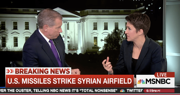 In Wake of Attack on Syria, Rachel Maddow Is the Only Skeptic in Sight