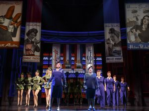 Patti LuPone as Helena Rubinstein, Christine Ebersole as Elizabeth Arden and the cast of War Paint..
