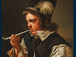 Michaelina Woutiers / Wautier Mons(?), Portrait of a Young Man with a Pipe.