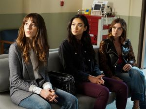 Troian Bellisario, Shay Mitchell and Lucy Hale in Pretty Little Liars.