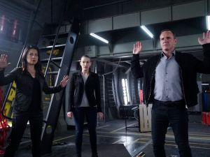 Ming-Na Wen as Melinda May, Elizabeth Henstridge as Jemma Simmons and Clark Gregg as Phil Coulson.