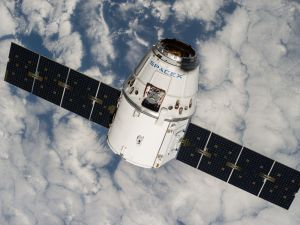 A SpaceX Dragon cargo spacecraft in low-Earth orbit.