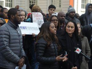 Brooklyn Councilman Jumaane Williams with Tamika Mallory and Carmen Perez, organizers of the Women's March on Washington.