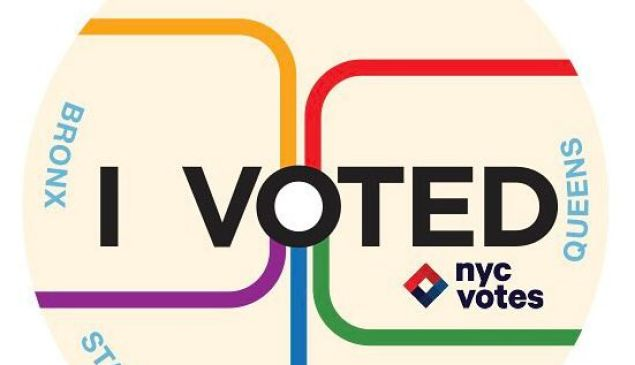 The winning design for New York City's next 'I Voted' sticker, by Marie Dagata and Scott Heinz.