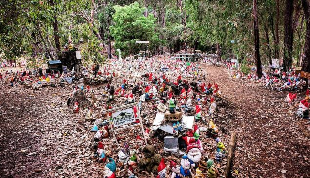 Gnomesville features a collection of thousands of garden gnomes tucked away in the forest.