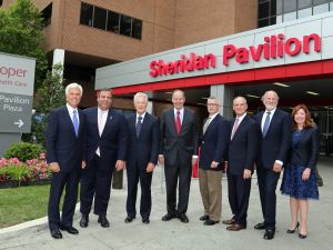 Governor Chris Christie attends and speaks at Cooper Hospital Sheridan Pavilion Dedication, named after former Cooper CEO John Sheridan, at Cooper University Hospital in Camden, N.J. on Wednesday, May 24, 2017. Other speakers included, in order of appearance, Chairman of the Board of Trustees of the Cooper Health System George Norcross, former Governors Tom Kean, Sr., Don DiFrancesco, Jim Florio, Jim McGreevey and Jon Corzine who was followed by remarks from Mark Sheridan, son of John Sheridan. (Governor's Office/Tim Larsen)