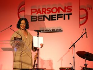 Rihanna speaks during The 69th Annual Parsons Benefit