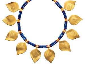 Sumerian Golden Leaves Necklace, $450.00 ($405.00 Members). This gold, lapis lazuli and carnelian beaded necklace is based on a similar item from the Met's collection which dated from 2600-2500 B.C. Mesopotamia. The original item was uncovered during excavations at the ancient city of Ur, and belonged to a woman who was once a servant to the king.
