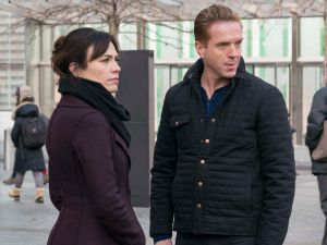 "Maggie Siff as Wendy Rhoades and Damian Lewis as Bobby ""Axe"" Axelrod."