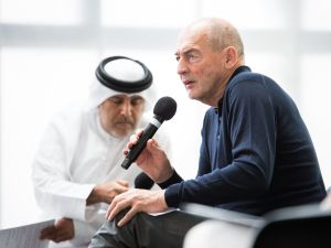 Rem Koolhaas at the opening of his new building, Concrete, on Alserkal Avenue in Dubai.