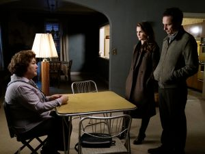 Margo Martindale as Claudia, Keri Russell as Elizabeth Jennings and Matthew Rhys as Philip Jennings.