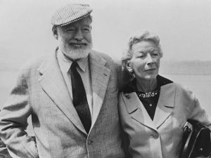 "Ernest Hemingway with his wife on board the ""Constitution"" crossing the Atlantic Ocean toward Europe."