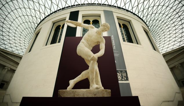 The Townley Discobolus is displayed in The British Museum's 'Winning at the ancient Games' victory trail on June 1, 2012 in London, England. To celebrate the London Olympics, the British Museum is staging a trail for visitors to highlight various objects connected by the theme of winning, many synonymous with the games of ancient Greece and Rome.