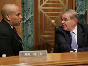 U.S. Sens. Cory Booker and Bob Menendez, right.