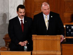 Assembly Speaker Vincent Prieto, left, and Senate President Steve Sweeney.