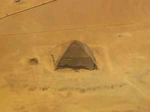 A picture taken on April 19, 2015 shows an aerial view of the bent pyramid of Dahshur, a royal necropolis located in the desert on the west bank of the Nile river, just south of Cairo.