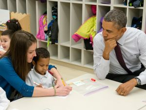 Classrooms like this one President Obama visited in 2014 could benefit from GoFundMe's new campaign.