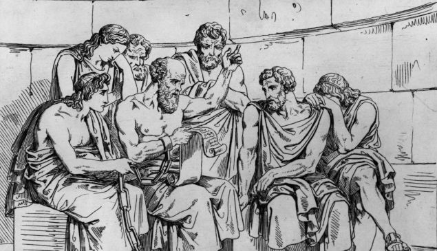 Circa 410 BC, The Greek philosopher Socrates teaches his doctrines to the young Athenians.