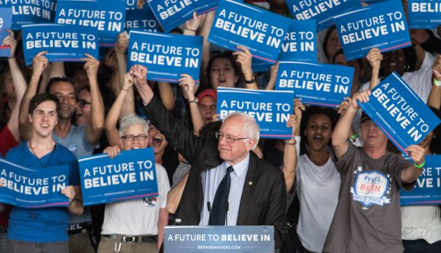 Sen. Bernie Sanders greets his supporters. (D-VT) greets the crowd at a campaign rally March 14, 2016 in Charlotte, North Carolina. The North Carolina Democratic primary will be held March 15. (Photo by )