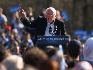 Sen. Bernie Sanders speaks to supporters in New York City.