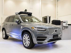 A pilot model of the Uber self-driving car is displayed at the Uber Advanced Technologies Center on September 13, 2016 in Pittsburgh, Pennsylvania. Uber launched a groundbreaking driverless car service, stealing ahead of Detroit auto giants and Silicon Valley rivals with technology that could revolutionize transportation. / AFP / Angelo Merendino (Photo credit should read ANGELO MERENDINO/AFP/Getty Images)