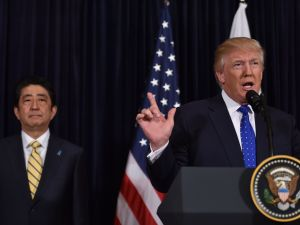 Japanese Prime Minister Shinzo Abe and President Donald Trump.