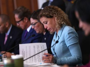 WASHINGTON, DC - MARCH 16: U.S. Rep. Debbie Wasserman Schultz (D-FL) looks on during a House Budget Committee markup of the Republican health care bill on Capitol Hill on March 16, 2017 in Washington, DC. The House Budget Committee voted 19 to 17 to approve legislation that will be sent to the full house to repeal the Affordable Care Act.