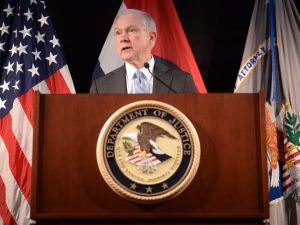 US Attorney General Jeff Sessions speaks to law enforcement officers in St. Louis.