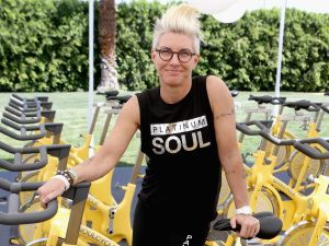 Instructor Stacey Griffith leads a SoulCycle workout.