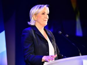National Front leader Marine Le Pen addresses activists at the Espace Francios Mitterrand on April 23, 2017 in Henin Beaumont.