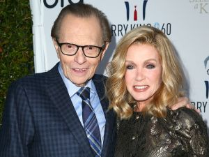 Television and radio host Larry King (L) and actor Donna Mills attend Larry King's 60th Broadcasting Anniversary Event in Hollywood.