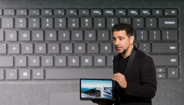 NEW YORK, NY - MAY 2: Panos Panay, vice president of Microsoft Surface Computing, speaks about the new Microsoft Surface Laptop during a Microsoft launch event, May 2, 2017 in New York City. The Windows 10 S operating system is geared toward the education market and is Microsoft's answer to Google's Chrome OS. (Photo by Drew Angerer/Getty Images)