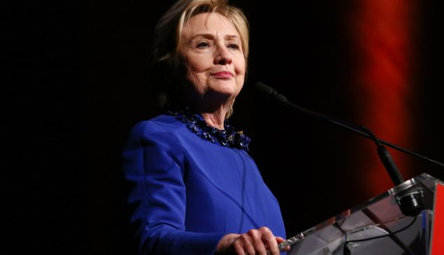 NEW YORK, NY - MAY 03: Former US Secretary of State and WOV Honoree Hillary Clinton speaks onstage at the Ms. Foundation for Women 2017 Gloria Awards Gala & After Party at Capitale on May 3, 2017 in New York City.