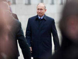 Russian President Vladimir Putin arrives to attend an opening ceremony of a monument to the Governor General of Moscow between 1891 and 1905, Grand Duke Sergei Alexandrovich of Russia, in Moscow's Kremlin on May 4, 2017. Targeted by the Social Revolutionary Combat Organization, Grand Duke Sergei Alexandrovich of Russia was assassinated by a terrorist bomb at the Kremlin. / AFP PHOTO / POOL / Pavel Golovkin