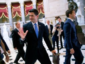 WASHINGTON, DC - MAY 4: House Speaker Paul Ryan walks in to the House chamber to vote on Capitol Hill May 4, 2017 in Washington, DC. The House voted to pass the GOPs healthcare bill, which has been stalled since leaders pulled it off the floor almost two months ago.