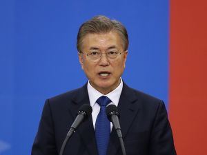 South Korea's new President Moon Jae-In speaks during his presidential inauguration ceremony on May 10, 2017 in Seoul, South Korea.